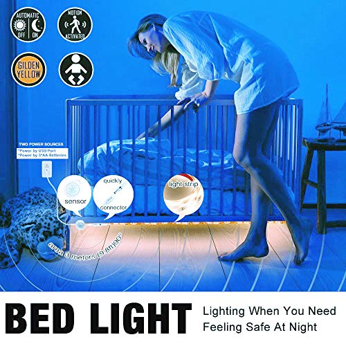 Lower Loft Bunk (YMING Motion Activated Bed Light, Flexible LED Strip Motion Sensor Night Light LED Lights for Room Decoration, Closet, Under Cabinets, Bunk Bed, Behind TV)