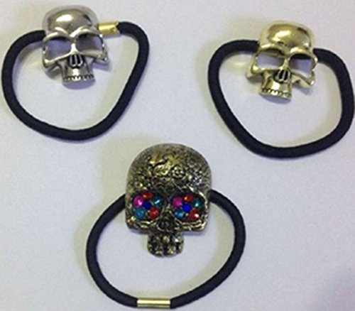 (Cuhair(tm) 3pcs Metal Girl Women Elastic Force Ponytail Holders Hair Ties Rope Bands Rubber Scrunchie Accessories)