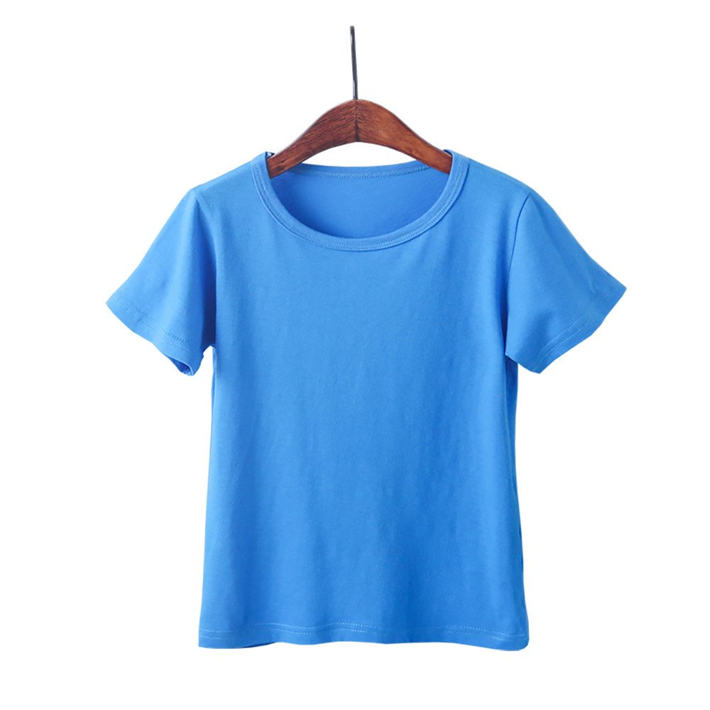 Kids Cheap T Shirts,Boys Solid Candy Color Tee Tops Little Girls T Shirts Pajama Shirts.(Blue,110) by Wesracia (Image #2)