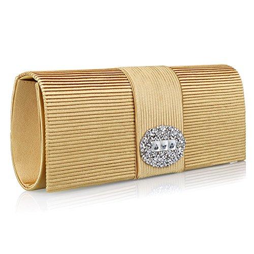 Ladies' Designer Pleated Satin Evening Bags for Women Formal Clutch Purse Stone Evening Handbag (gold)
