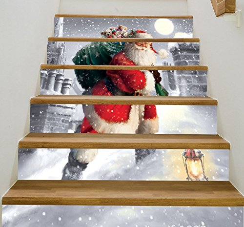 zhiyu&art decor 6pcs/Set Christmas Snowman Gifts Tile Stair Risers Stickers Set-Staircase Decals Removable Waterproof Mural Wallpaper for Christmas Decoration (Snowman 2)
