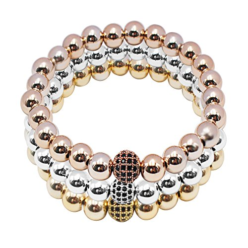 Daintymuse Stretch Bracelets Beads Elastic Pocorn Hand Chain Plated Charm Luxury Multilayer Bracelet for Women