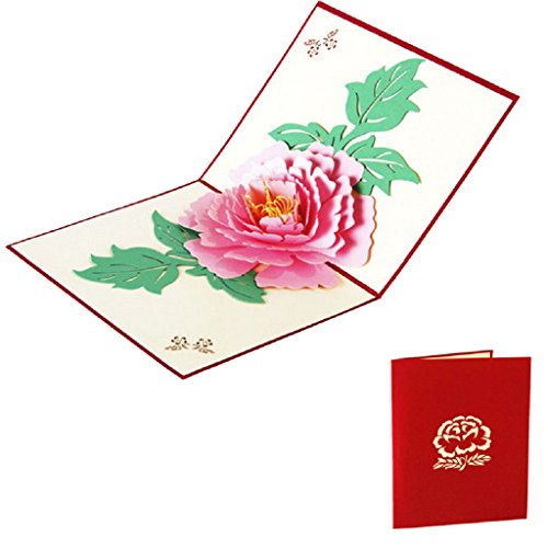 (BecauseOf Valentines Day Gift, 3D Pop Up Peony Flower Greeting Card for Saint Valentines Birthday New Year (Pink) )