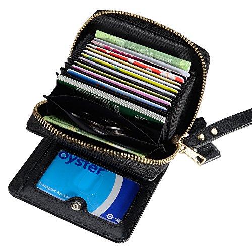 Kleines Portemonnaie, TAKYU echtes Leder Geldbörse Geldbeutel Portmonee Kreditkartentasche mit diversen Fächern für Karten und Schein (Lila) Schwarz