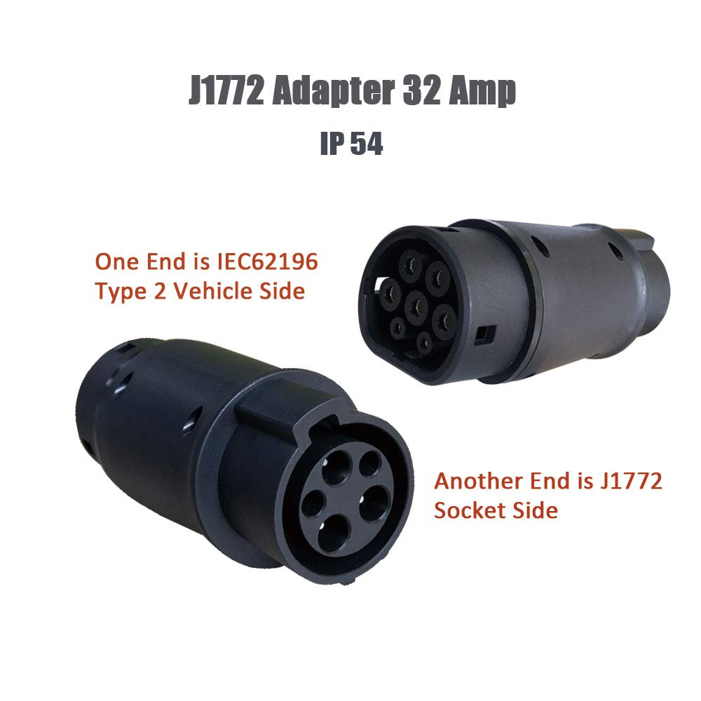 KHONS EV Charger Connector Type 1 to Type 2 Adapter Electric Vehicle Charging Adapter (SAE j1772 to IEC62196) by K.H.O.N.S.