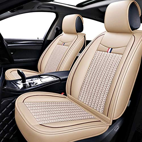 Lykaci Car Seat Covers Set Leather, Universal 5 Seats Seat Cushions for the front seats and rear seat Seats (Color : Beige):
