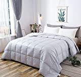 Oversized California King Down Comforter Lightweight 100% Natural White Goose Down Comforter Blanket Fit Summer Warm Weather,Size California/Oversized King,750+ Fill Power, 100% Cotton Shell-Soft and No Sound, Machine Washable,Light Gray