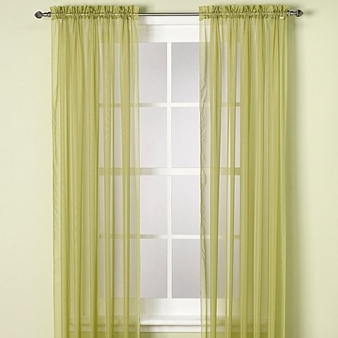 Gorgeous Home (SHEER) 2PC SAGE GREEN SHORT SIZE 55″WIDE X 63″ LENGHT PLAIN SOLID COLOR SOFT VOILE SHEER WINDOW CURTAIN PANEL ROD POCKET DRAPE TREATMENT FOR MULTIPLE USE