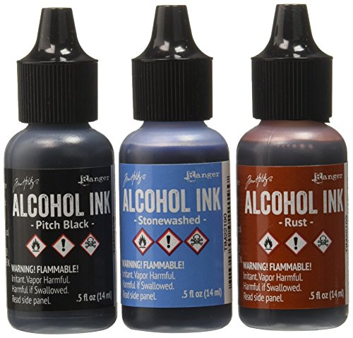 Ranger Adirondack Alcohol Ink 1/2-Ounce 3/Pkg, Miners Lantern, Rust/Stonewash/Pitch Blk (AAI-20721)