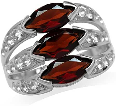 3.51ct. 3-Stone Natural Marquise Shape Garnet White Gold Plated 925 Sterling Silver Ring