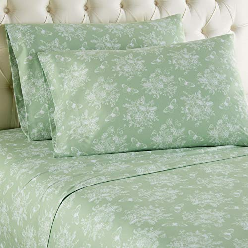 Thermee Micro Flannel Sheet Set, Toile Celery Green, California King
