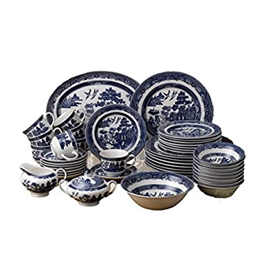 Johnson Brothers 45-Piece Willow Dinner Set, Blue