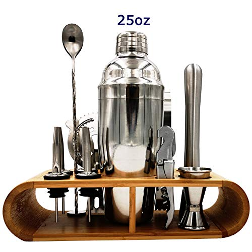 Cocktail Shaker Set 12 Pcs Bartender Kit With Polished Bamboo Stand 25 Oz Shaker Jigger Mixing Spoon Ice Broken Stick Strainer Ice Tongs Wine Opener Spouts for Cocktail Makers by RY Home