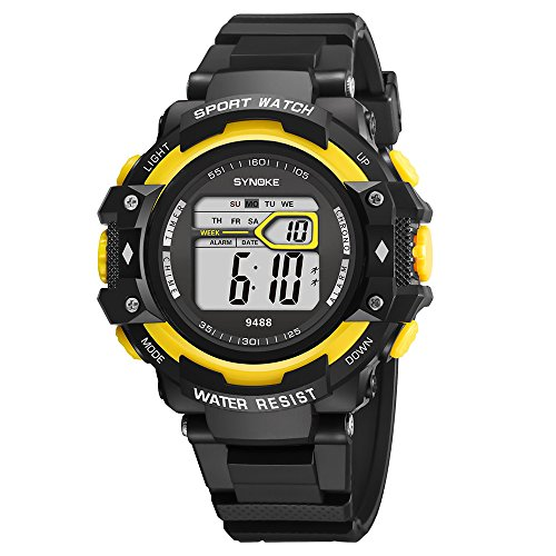 Fxbar,Mens Watches Outdoor Climbing Sport Watch Waterproof Sport Analog Dive Watch (Yellow)