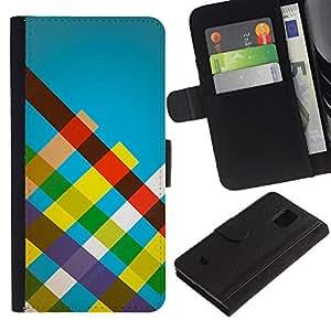 LECELL--Cuero de la tarjeta la carpeta del tirón Smartphone Slots Protección Holder For Samsung Galaxy S5 Mini, SM-G800 -- Rayas del arco iris --