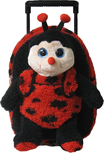 Kreative Kids Adorable Lady Bug Plush Rolling Backpack w/Shiny Eyes, Removable Stuffed Toy & Wheels