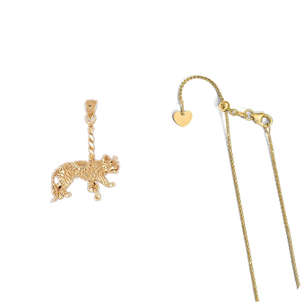 14K Yellow Gold Carousel Tiger Pendant on an Adjustable 14K Yellow Gold Chain Necklace