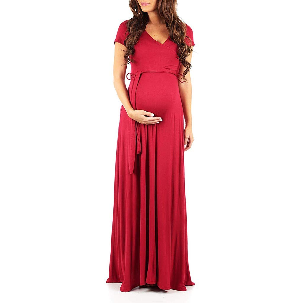 MITIY Womens Short Sleeve Faux Wrap Maternity Maxi Dress with Adjustable Belt