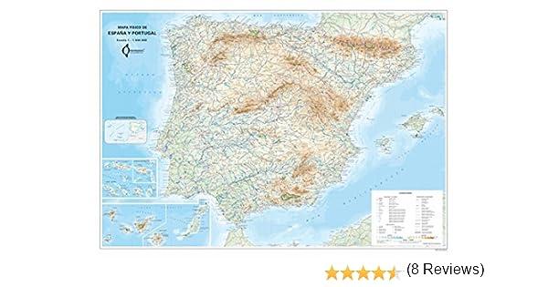 Mapa Mural Fisico España Y Portugal (tubo) (98x70): Amazon.es: Aa.Vv.: Libros