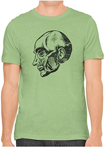 Unisex Mens Anatomy Muscle Head Hand Screen Printed Fitted Cotton T Shirt  Leaf Green  Medium
