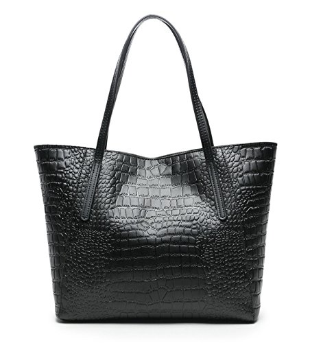 - Over Size! CHERRY CHICK Women's Everyday Handbag Embossed Nappa Cowhide Skin Purse-Large Tote Bag (True Black)