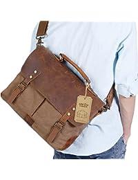 14-15.6 inch Laptop Messenger Bag Vintage Genuine Leather Canvas Briefcase Computer Satchel
