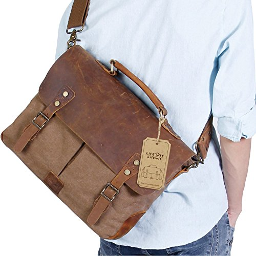 Lifewit Men's Briefcase Vintage Leather Laptop Bag Canvas Messenger School Satchel Work Bags Fit up to 15.6-Inch, Coffee