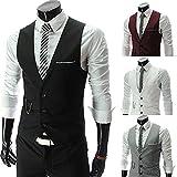 Men Suit Vest Solid Single-Breasted Cotton Slim Vest SizeM, XXL, XXXL LY0037