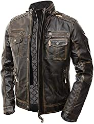 The Custom Jacket Men's Motorcycle Distressed Brown Cafe Racer Real Leather Ja