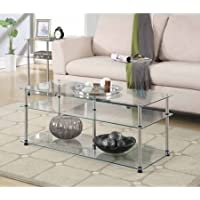 Convenience Concepts Designs2Go Classic Glass 3-Tier Coffee Table, Glass