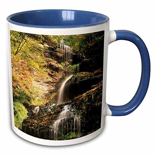 3dRose Danita Delimont - West Virginia - Cathedral Waterfalls in autumn, West Virginia, USA - US49 AJE0001 - Adam Jones - 15oz Two-Tone Blue Mug (mug_148835_11)