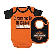 Harley-Davidson Baby Boys' Interlock B&S Creeper & Bib Set Orange 3050413 (0/3M)