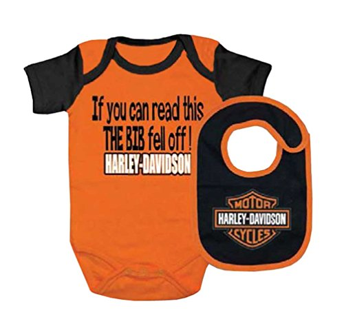 Harley-Davidson Baby Boy's Interlock B&S Creeper & Bib Set, Orange ()