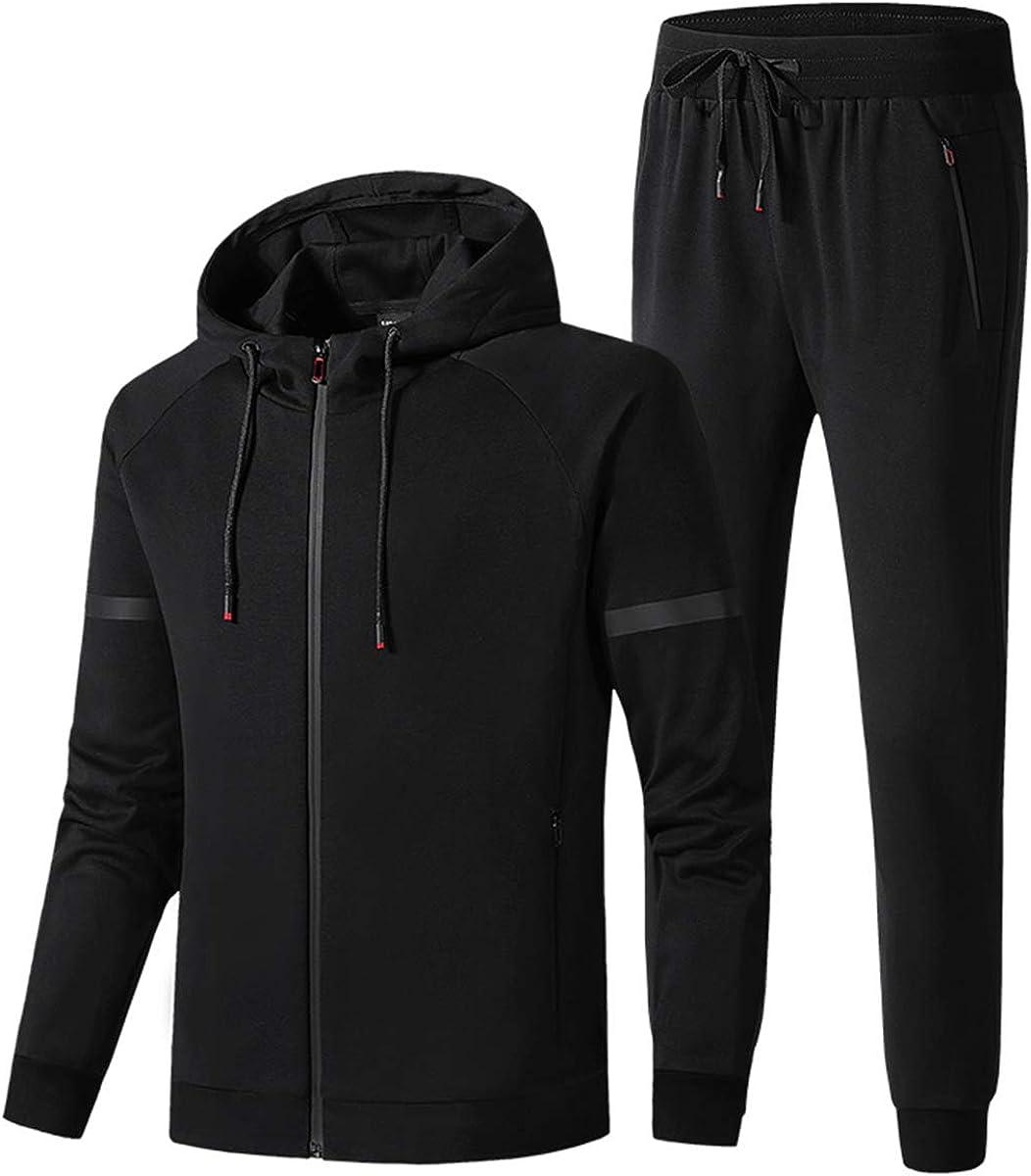 Mens Tracksuit Set Ribbed Grey Hoodie Top Bottoms Jogging Pants Gym Joggers L