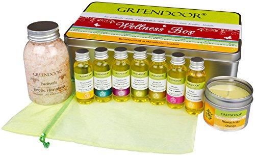 METALL-SCHMUCKBOX: Wellness Geschenkset VIENNA - Entspannung pur mit 7 BIO Massageölen im Organzabeutel + 100 ml BIO Massagekerze + Badesalz Himalaya, hochwertiges Geschenk Set