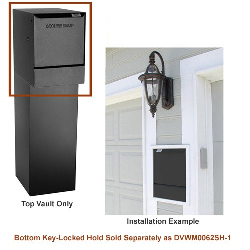 dVault® Wall Mount Package Drop DVWM0062S Secure Mail/Package Drop in Black (Top Only)