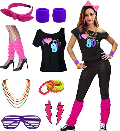 * NEW * Women's I Love the 80s Costume Set with off shoulder T-shirt and accessories