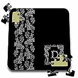 Russ Billington Monograms- White Lace Initial D - Monogram Initial D in White Lace over Black Background - 10x10 Inch Puzzle (pzl_238725_2)