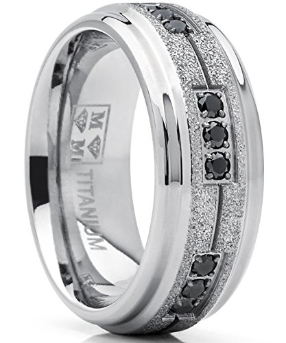 Men's Women's Titanium Black Trinity Cubic Zirconia Ring Wedding Band with Shimmer Finish 8mm 7.5