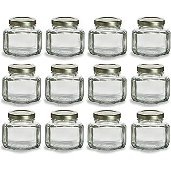 Nakpunar 12 Pcs 375 Oz Oval Hexagon Glass Jars For Jam Honey Wedding