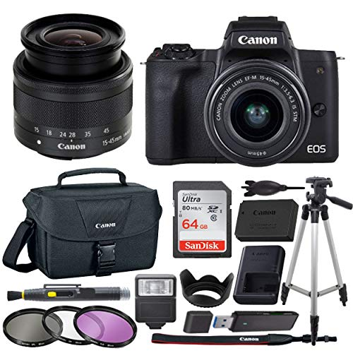 Canon EOS M50 Mirrorless Camera Body w/4K Video + Canon EF-M 15-45mm  f/3 5-6 3 is STM + 64GB SDHC Memory Card + Canon 100ES Case + Tripod +  flash