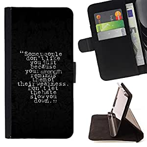 Jordan Colourful Shop - strength weakness hate people quote slow For Sony Xperia Z1 Compact D5503 - < Leather Case Absorci????n cubierta de la caja de alto impacto > -