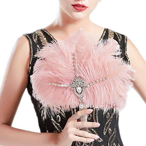 (BABEYOND Vintage Bridal Feather Bouquet 1920s Ostrich Feather Fan Crystal Bridesmaid Bouquet 20s Gatsby Wedding Bouquet Flapper Accessories (Pink))