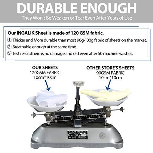 INGALIK Premium Bed Sheet Set 4 Piece King Size - 1800 Thread Count Brushed Microfiber - Super Soft Bed Sheets Set,120 GSM Hypoallergenic Fabric - Deep Pocket Sheet Sets(Ivory,King)