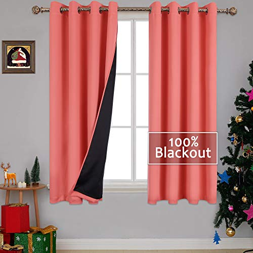 (YGO 100% Blackout Curtain Panels, Thermal Insulated Black Liner Curtains for Nursery Room, Noise Reducing and Heat Blocking Drapes for Windows (Set of 2, Coral Color, 52
