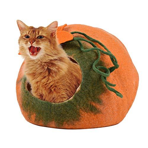Jaula de fieltro de lana natural Cat Cave Bed Large nest de gato mascota Handcrafted Jaula de lana natural y ecológica hecha...