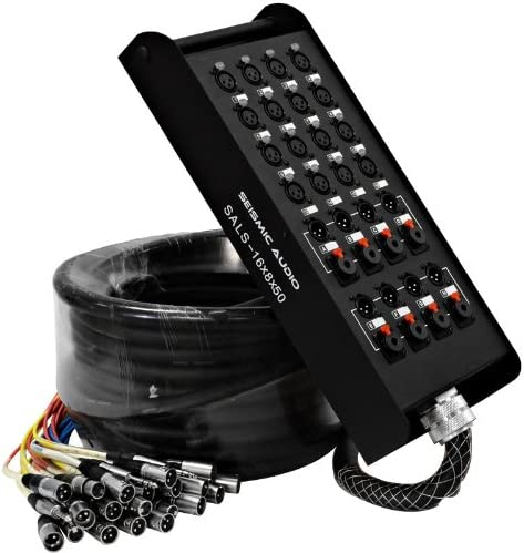 Stage Studio Use for Recording XLR and 1//4-Inch TRS Returns Seismic Audio-SALS-12x4x50-12 Channel 50-Feet Pro Stage XLR Snake Cable