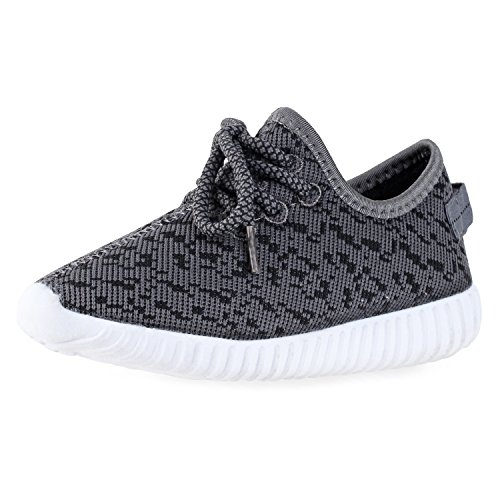 BLINX Boys Jogger Woven Knit Upper Casual Sneakers Shoes Grey/Black 12 ()