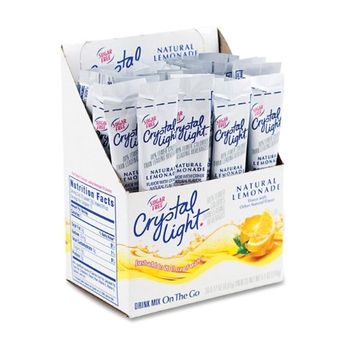 30 Single Serve Packets - Crystal Light On The Go Sticks - 20oz Water Bottle Size - 30ct boxes (Pack of 4) - Lemonade