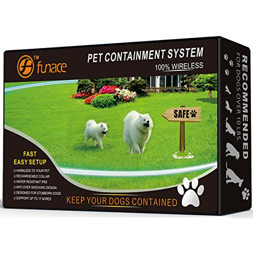 100% Wireless Pet Containment System - Safe & Easy WiFi Radio Dog Fence - No Wire, No Dig, No Bury - Rechargeable and Waterproof Collar - Large Coverage Area: 40-500 Ft Radius, up to 17 Acres (Black) by FunAce